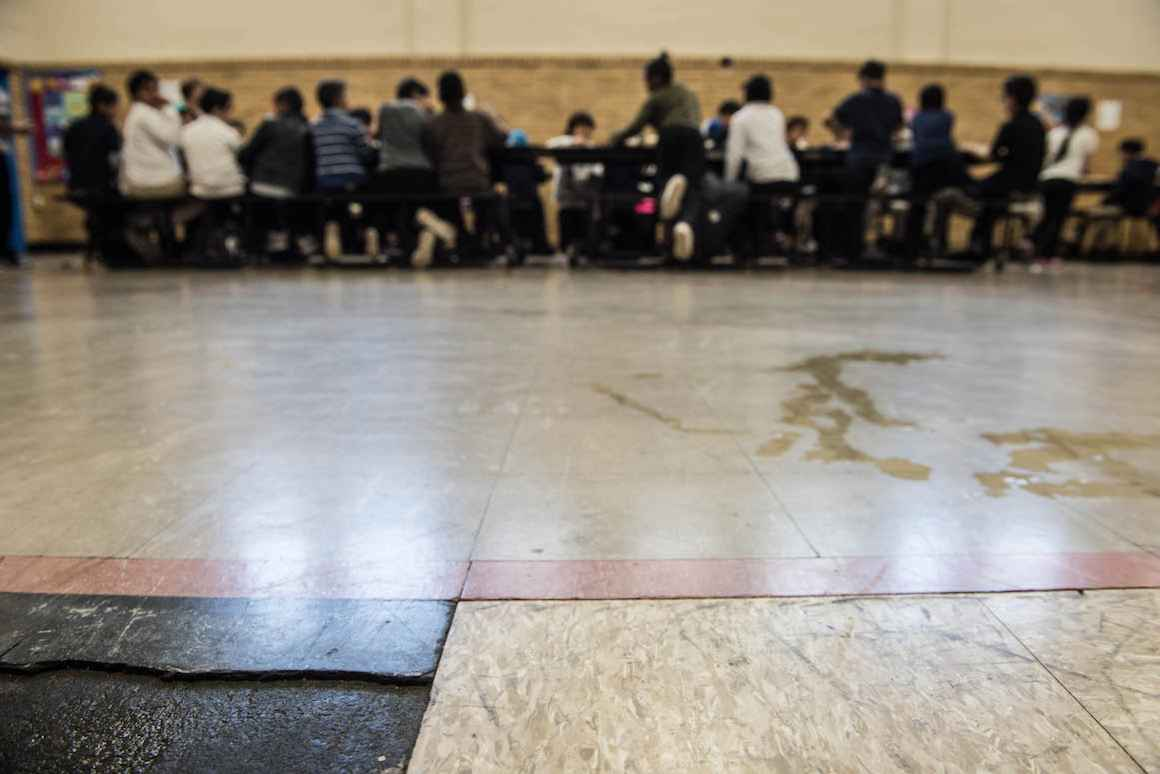 At Holbrook Elementary, an old, uneven gym floor poses greater risk for injury.