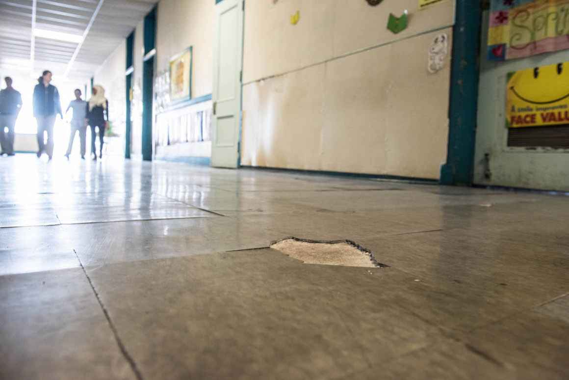 High-traffic tile floors are crumbling at Dickinson East Elementary.