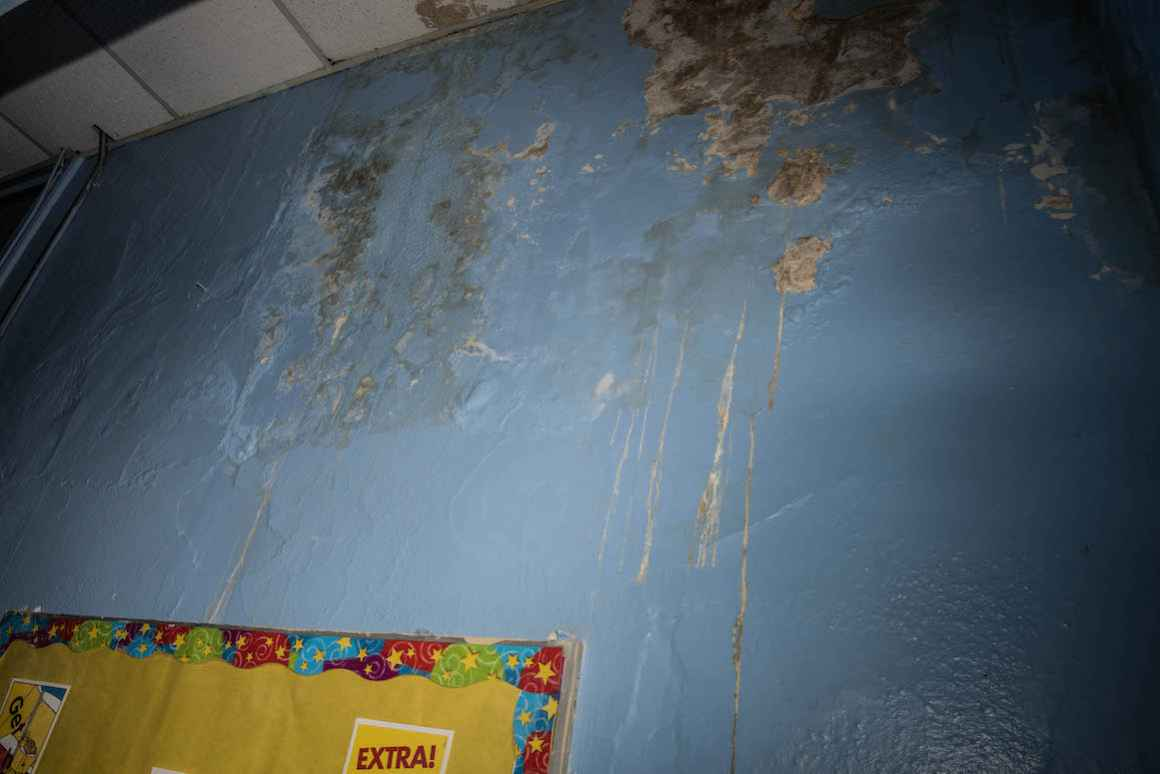 Water damaged is slowly corroding the walls inside many Hamtramck public schools, including this one at Dickinson East Elementary School.