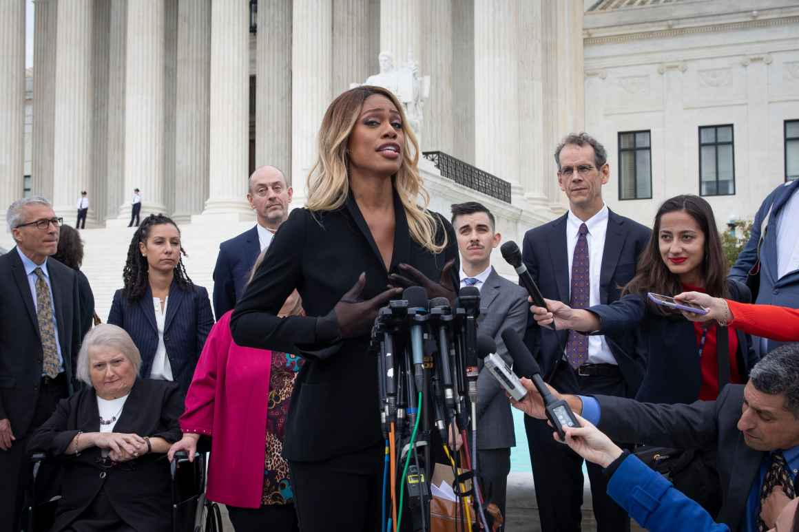 Laverne Cox speaking at the Supreme Court