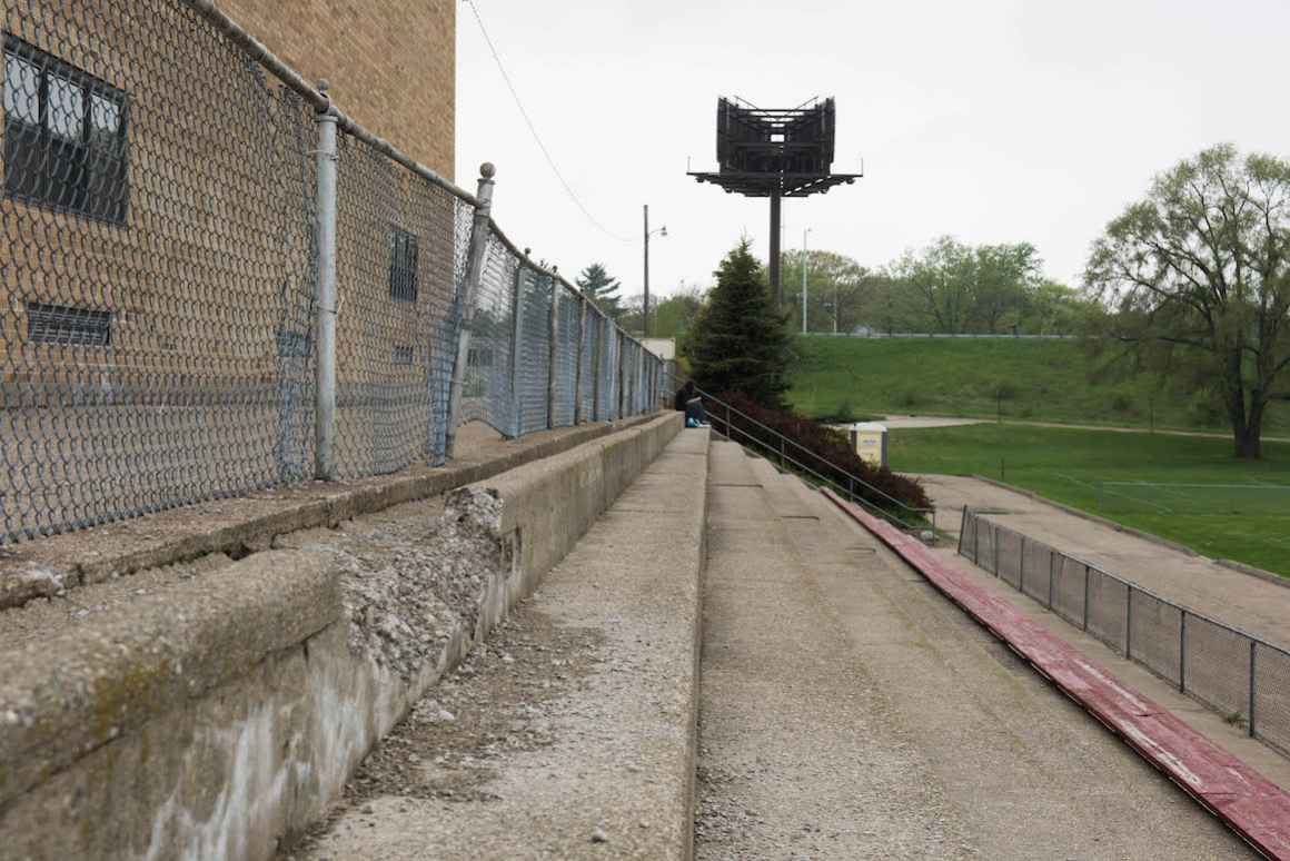 Bleachers at Nelson Elementary school are quickly crumbling and need to be replaced.