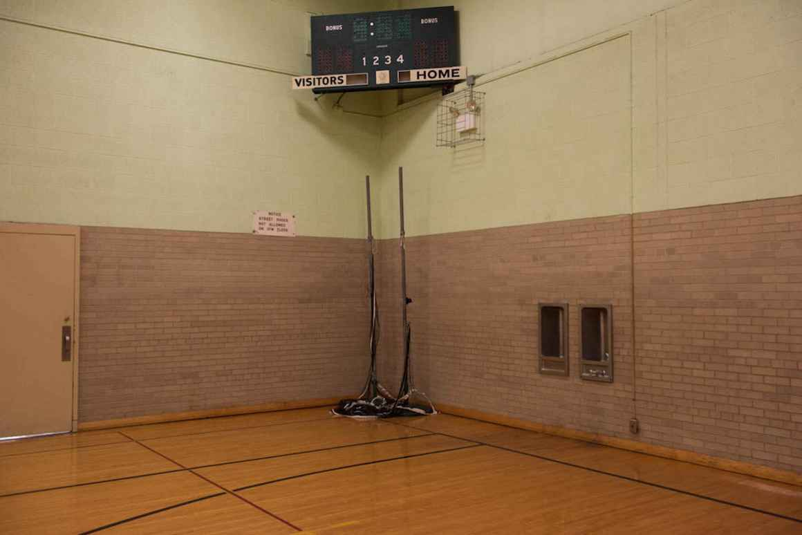 Antiquated equipment furnishes the gym of Nelson Elementary School.