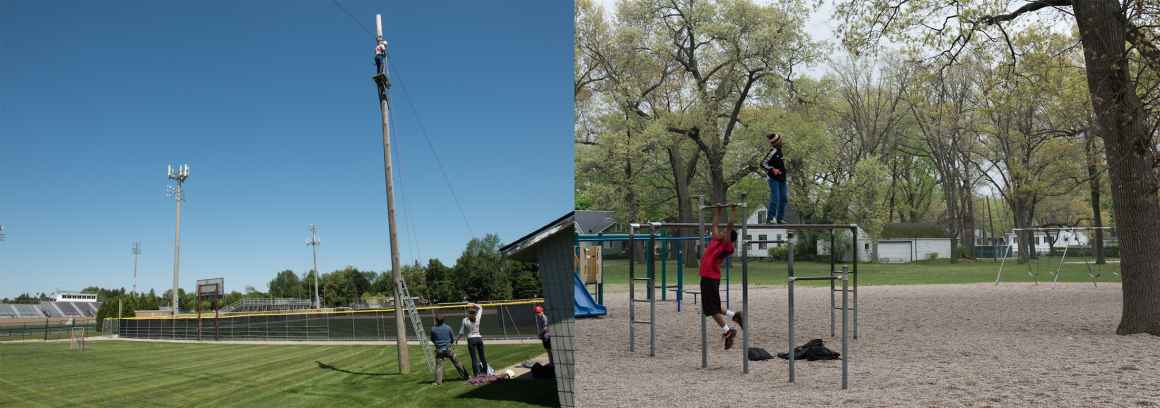 An intricate Birmingham Public Schools ropes course, located at Birmingham Seaholm High, stands in stark contrast to the worn playscapes available to Muskegon schoolchildren.