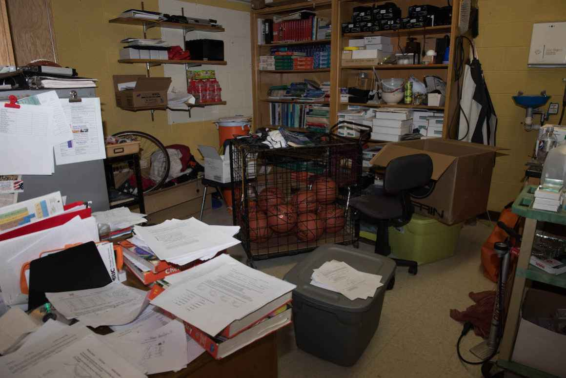 The high-school chemistry teacher, who doubles as the Rudyard basketball coach, says he's forced to keep basketballs in a closet in the chemistry classroom because of a lack of storage space.
