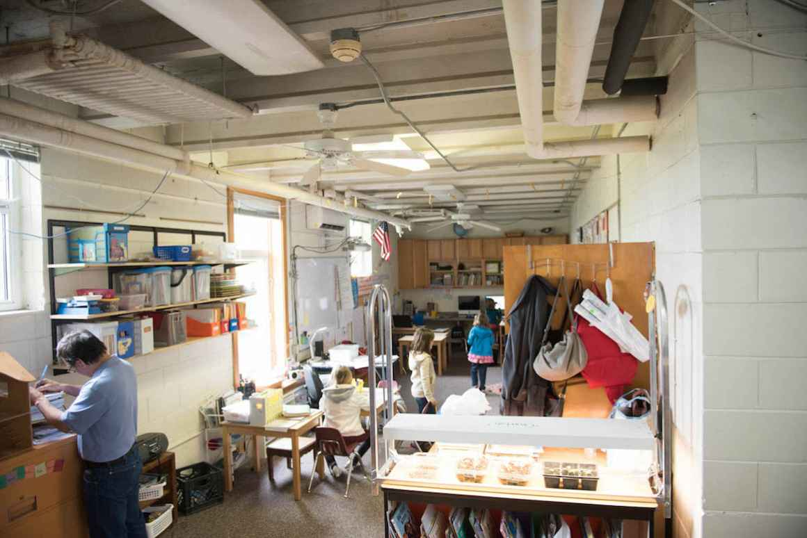 Students at Sodus, aka the River School, study in the space that was transformed from a kitchen to a classroom.