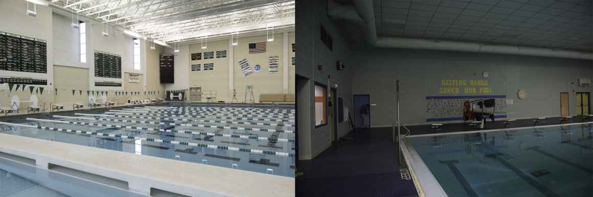 Contrasting photos show the differences between the swimming pools at Birmingham Groves High School (left) and Rudyard.