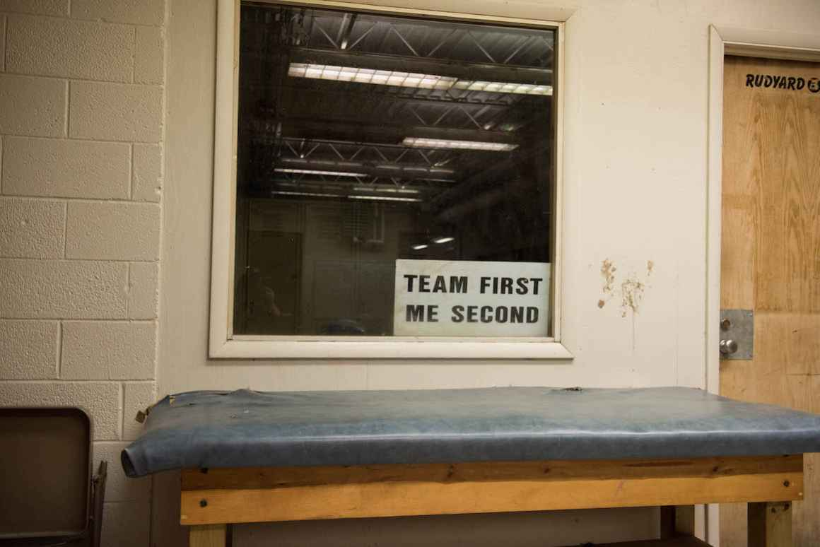 An aging trainer's table sits near the high-school boys' locker room inside the Rudyard school. The entire locker area is in desperate need of renovation.