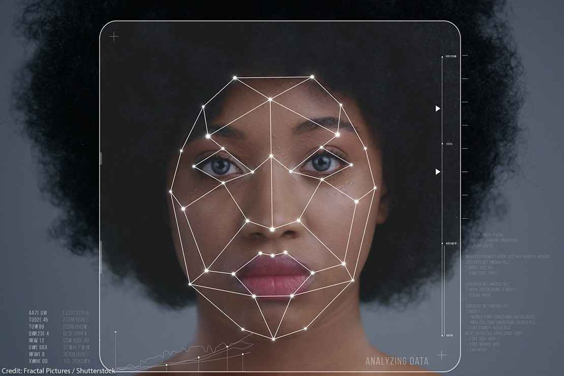 technological scanning of an Afro-American woman's face