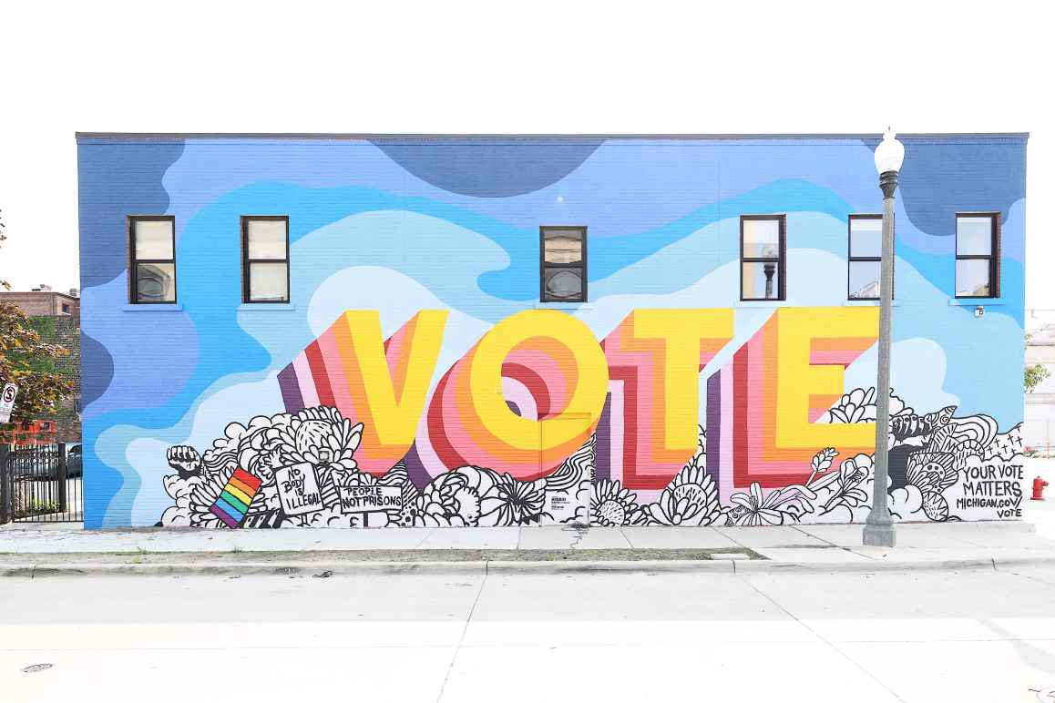 Vote mural outside of ACLU of Michigan building