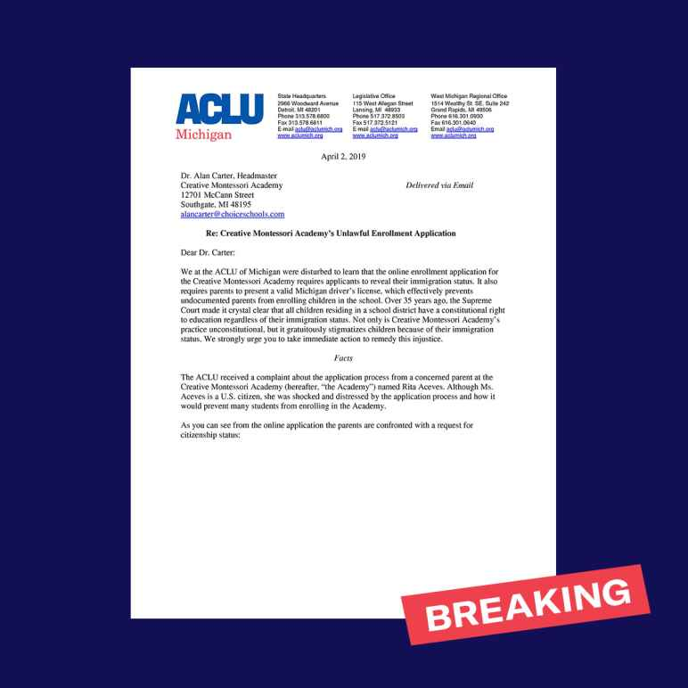 Photo of first page of ACLU MI letter sent to Creative Montessori Academy in Southgate