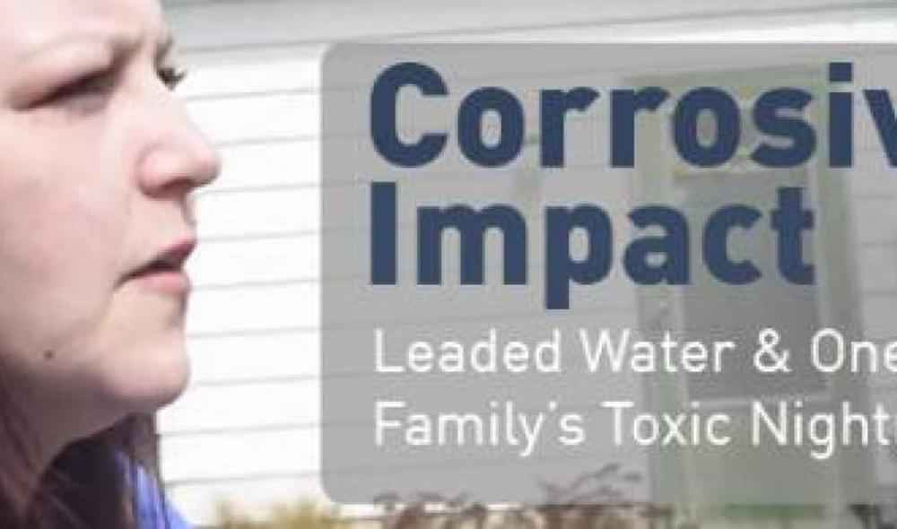 Corrosive Impact graphic with a woman's face on the left side