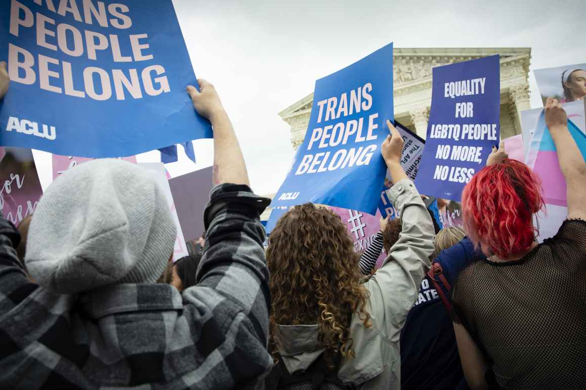 Trans People Belong sign outside of the U.S. Supreme Court