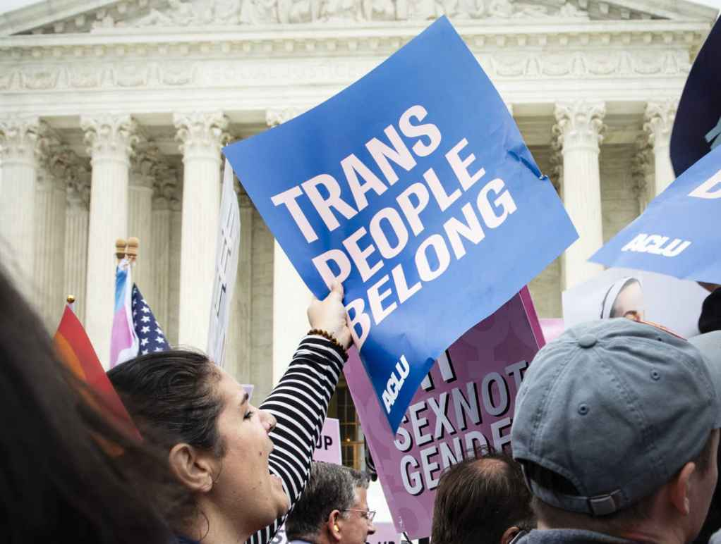 Trans People Belong sign