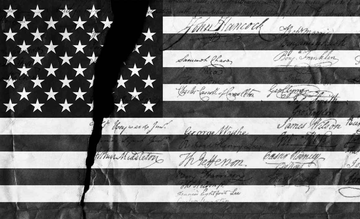 Graphic of black and white American flag with tear through it