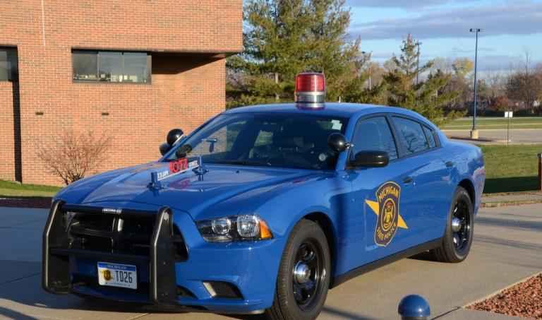 Blue Michigan State Police patrol car