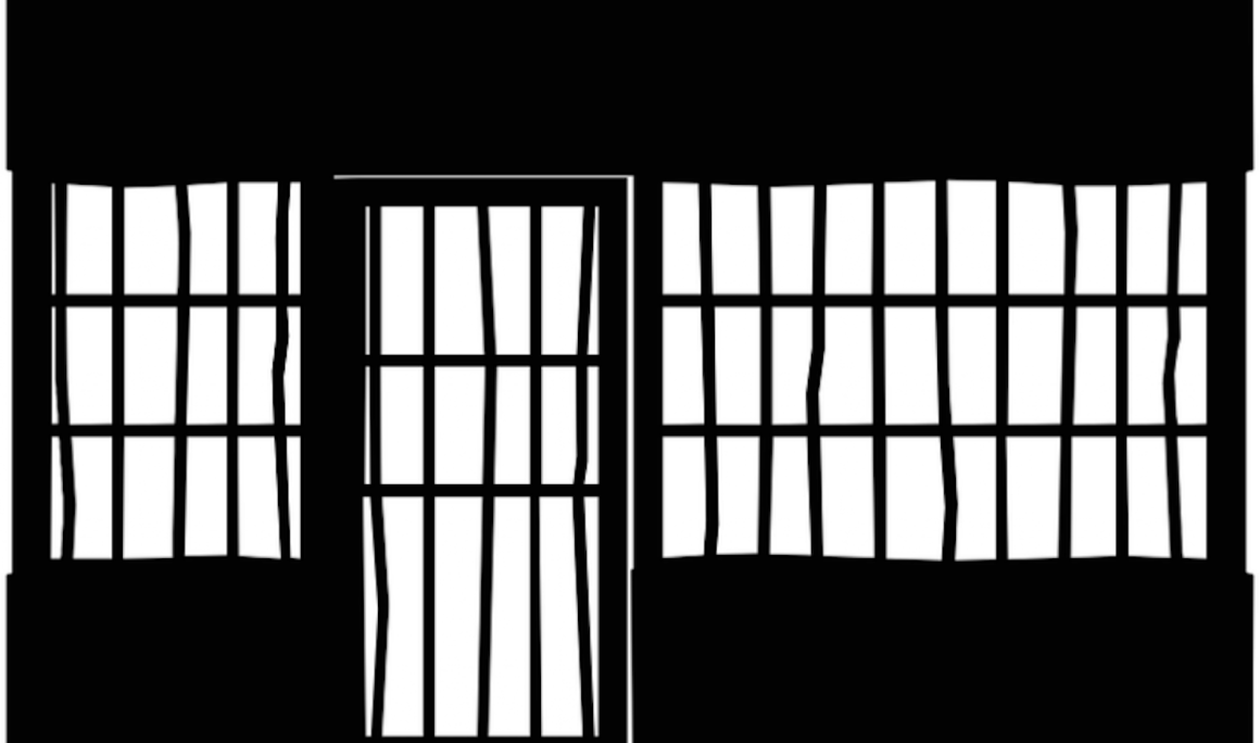 Black and white drawing of a cell with bent bars