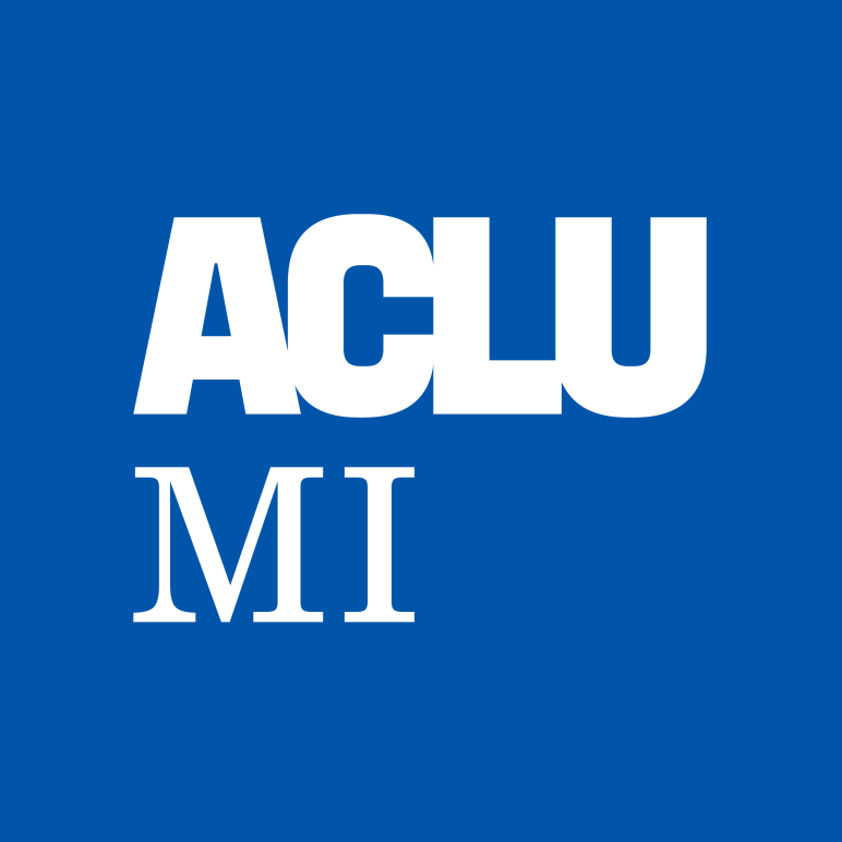 ACLU MI logo blue and white