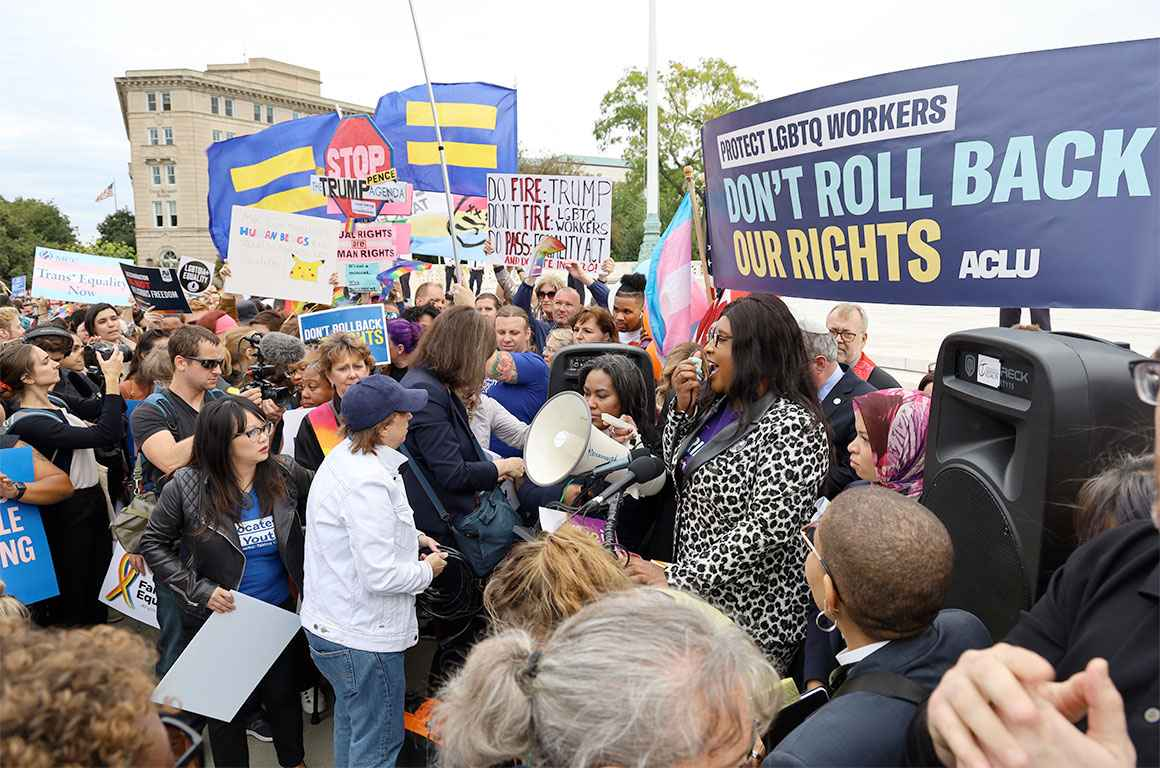 Trans rights rally at the Supreme Court
