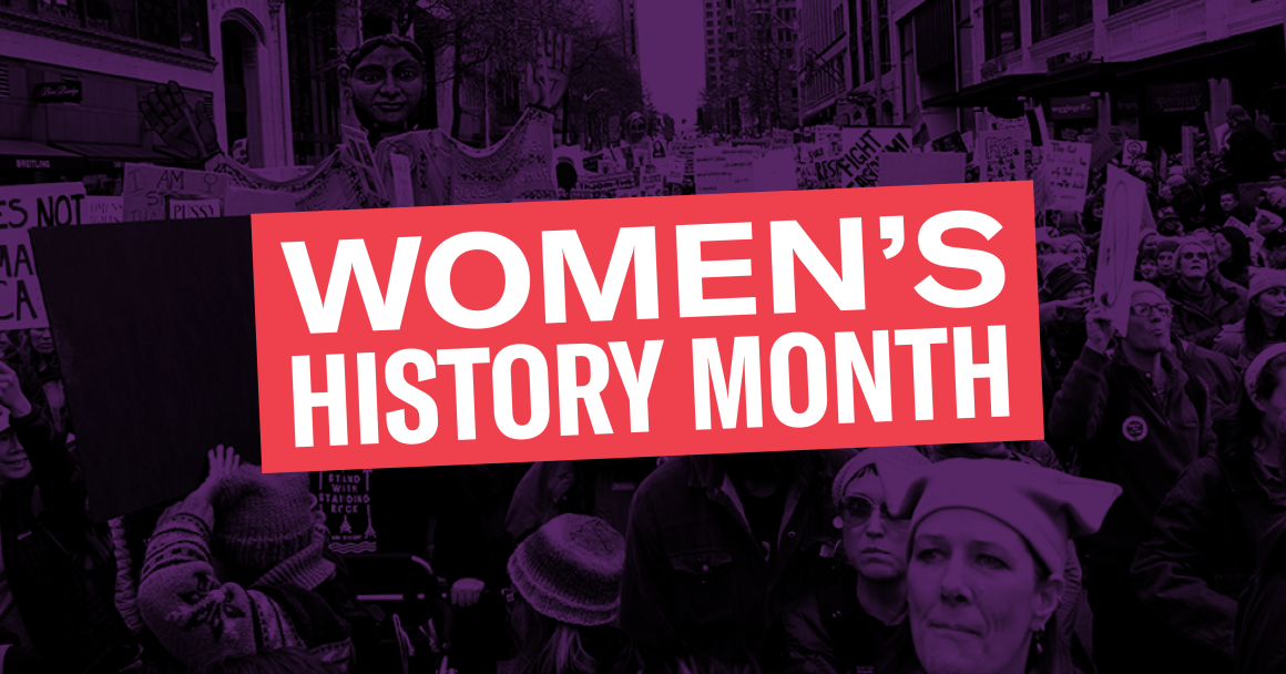 Women's History month graphic with protest in background and title in foreground